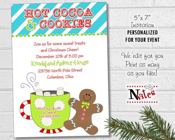 Christmas Cookie Party Invite.Hot Cocoa And Cookie Party Invitation Kids Christmas Party