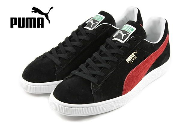 puma suede made in japan  black/ribbon red