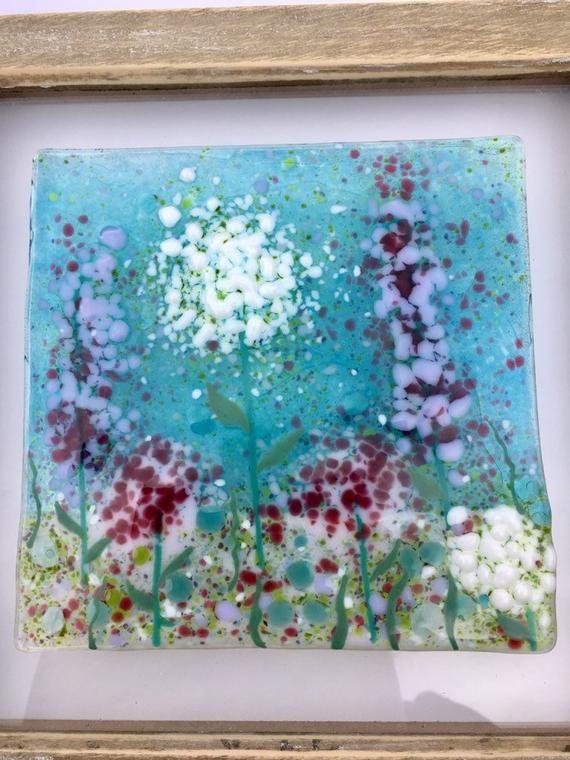 Fused Glass Glass Art Fused Glass Wall Art Fused Glass Art Etsy Fused Glass Wall Art Framed Floral Art Small Framed Art