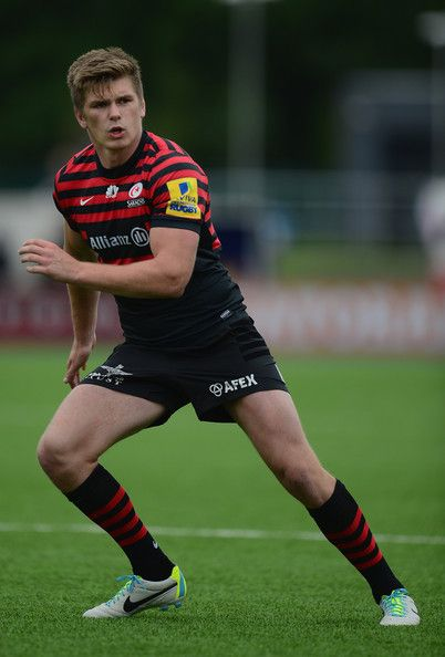 Owen Farrell of Saracens in action during the Aviva Premiership match between Saracens and Gloucester at Allianz Park on September 15, 2013 in Barnet, England.