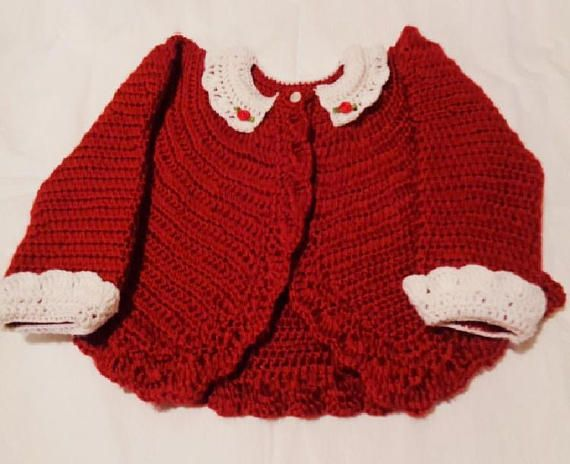 Crocheted Infant Bolero Sweater in Autumn Red w Lace Collar and Cuffs -- By Magdalene Knits -- #bmecountdown