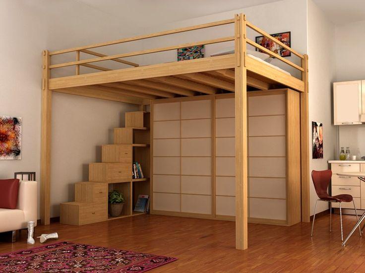 Cama alta de madeira Coleção YEN by Cinius
