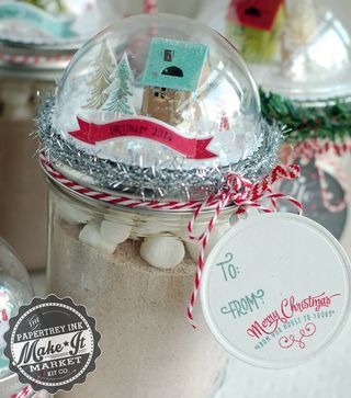 Snow globe jar toppers made with the Make It Market Tinsel & Tags kit from papertreyink.com