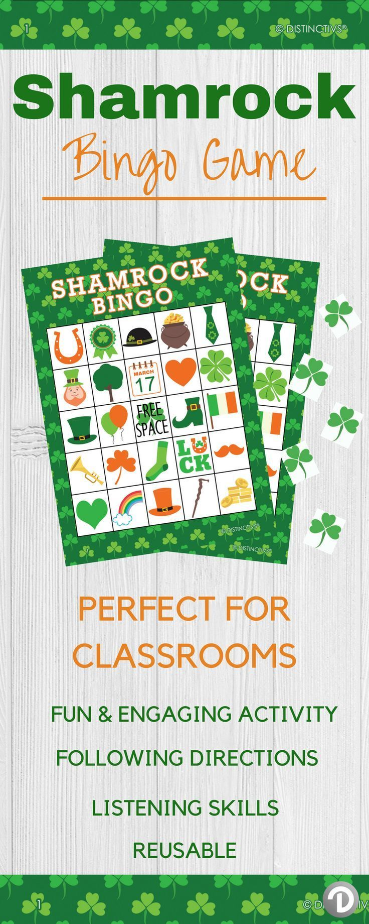 This fun activity is perfect for School St Patty's Day.Reusableso Every Class Can Play - and Save for Next Year! #stpatricksbingo #bingogame #stpattys