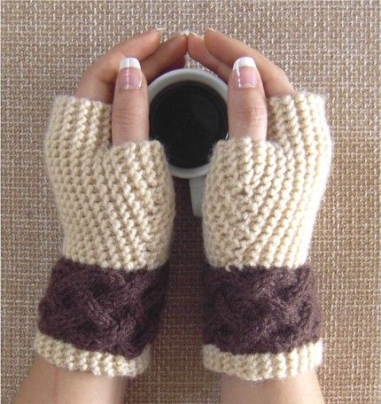 fingerless gloves - perfect for indoors on a cold winter day or outside on a brisk fall afternoon.