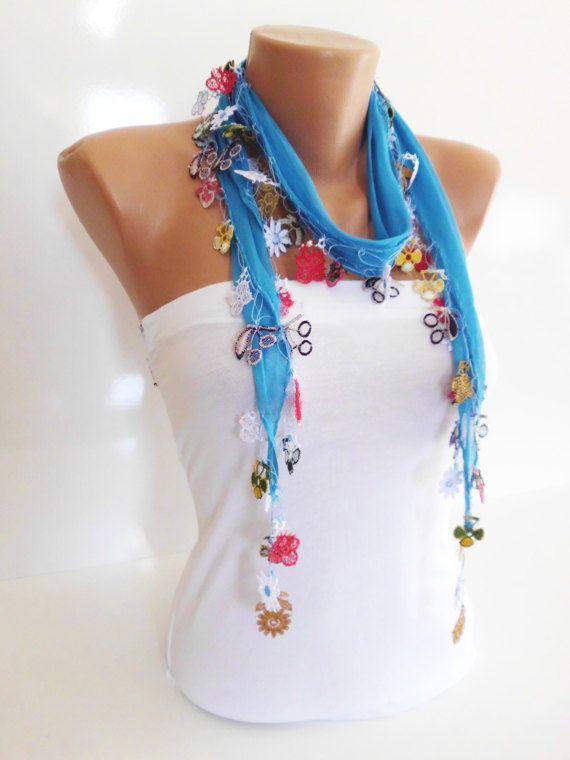 Cotton scarf with handmade Turkish crochet oya by kKnittedFashion, $17.50