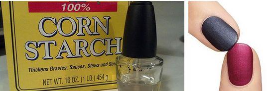 Ajoutez de la fécule de maïs à votre vernis à ongles transparent pour donner un effet mat à votre couche de finition.