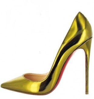 Christian Louboutin So Kate 120 Metallic Leather Pointed Toe Red Sole Pumps Gold on sale online