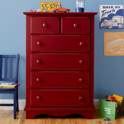 Thinking about painting the boys 39 existing dresser like for Red bedroom furniture