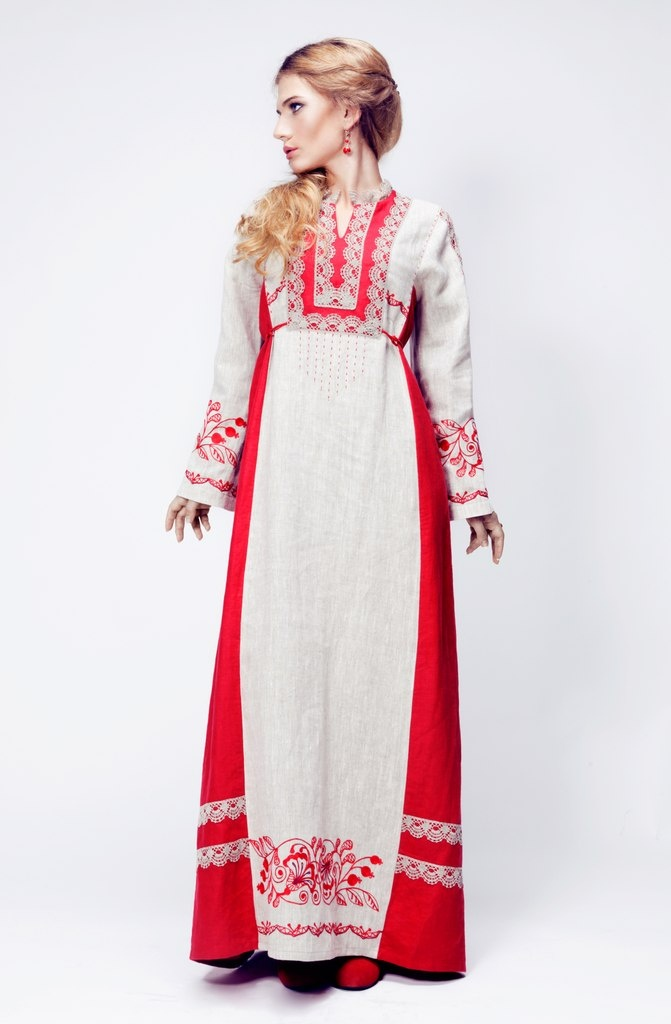 slav nationality traditional folk fashion, Russia