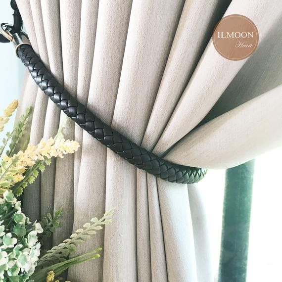 Pairx2 Leather Curtain Tie Backs Black Decor Farmhouse Etsy