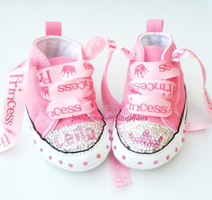 Baby Bling Infant Crystal Princess Tiara PERSONALIZED Chuck Taylor Pink Infant Converse Sneakers. $79.99, via Etsy.
