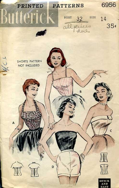 Butterick 6956 ©1954 Blouses: Halter, Camisole, Strapless