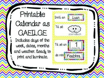 calendar as gaeilge - ready to print and use in the classroom