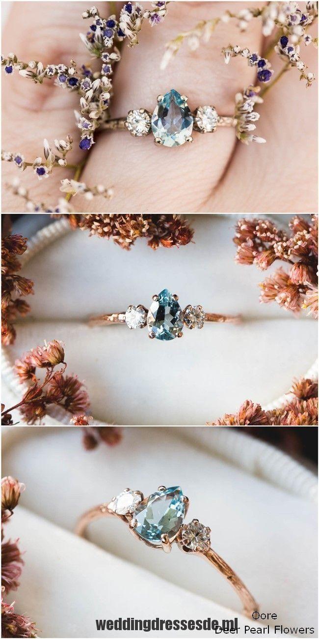 Aquamarin Birne Moissanite und 14k Gold Zweig Verlobungsring #Ring #Wedding #we