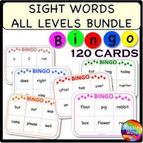 Grade / Year Level :: Primary Education :: Foundation - Year 2 :: POPULAR SIGHT WORDS LISTS BINGO GAMES CARDS BUNDLE all levels