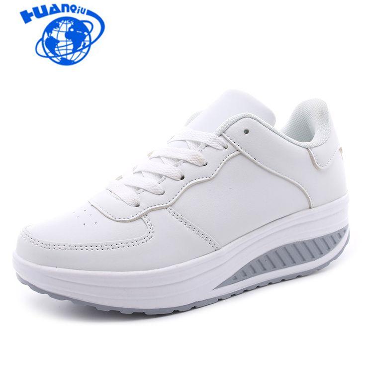 HUANQIU Plus Size Spring Women Flat Platform Shoes Woman White Nursing Shoe Loafers Slip on Moccasins Slimming Shoes woman ST207 #Affiliate