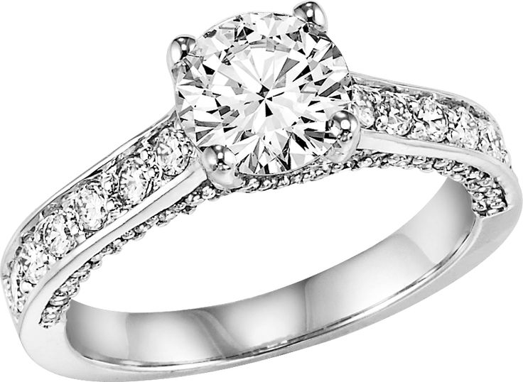 Brilliant cut engagement ring with peek-a-boo diamonds.