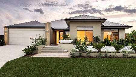 Stunning elevation with elevated feature recess and front pier, rendered facade and Colorbond roof