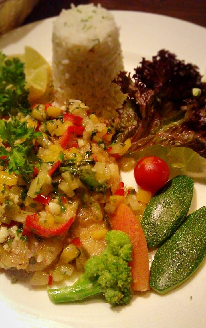 Sole fish with salsa and herbed coconut rice