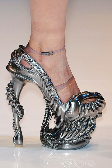 Space Age.. (shoes,silver,streampunk,high heels,ankle straps,futuristic)