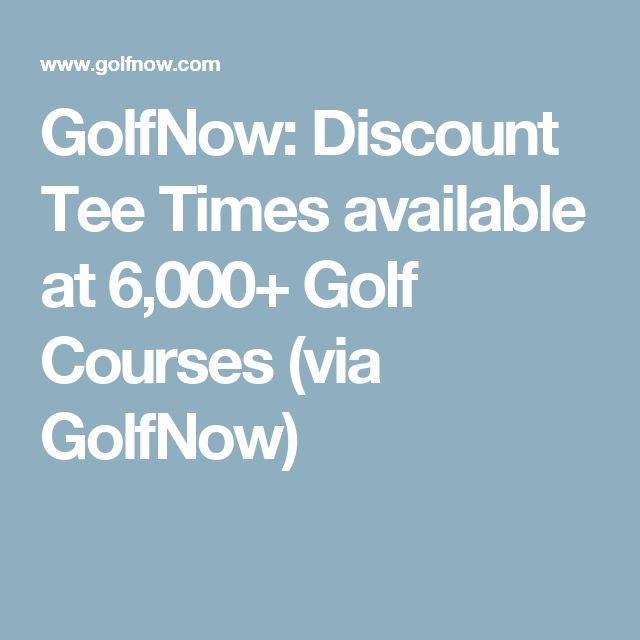 GolfNow: Discount Tee Times available at 6,000+ Golf Courses (via GolfNow)