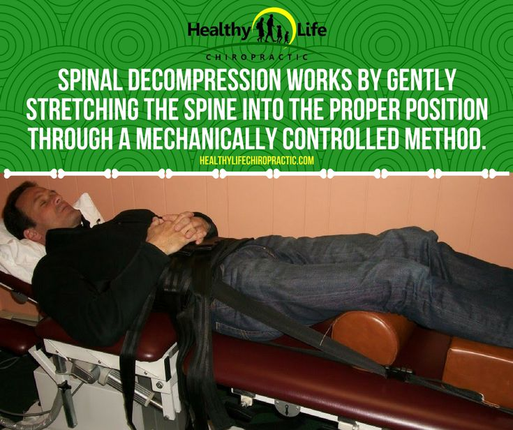 Spinal decompression works by gently stretching the spine into the proper position through a mechanically controlled method.