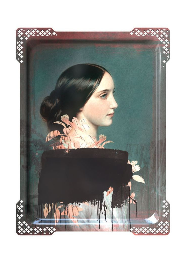 The Galerie De Portraits Ida Large Rectangular Tray #4 by French designer Ibride gives traditional serving trays a second life, turning them into hanging works of art. Designed by Rachel Convers