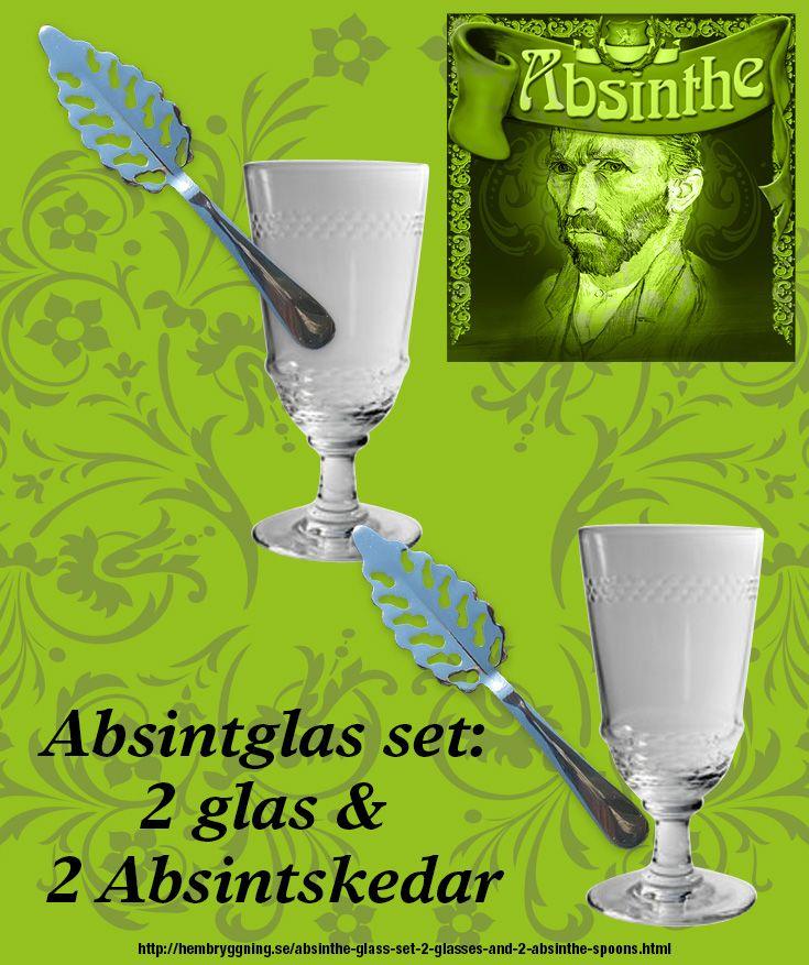 2 st. Cordon Absintglas med dekorrand samt 2 rostfria absintskedar. Allt är nytt men kopior av antika Absintglas och skedar. http://hembryggning.se/absinthe-glass-set-2-glasses-and-2-absinthe-spoons.html