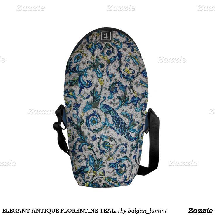 ELEGANT ANTIQUE FLORENTINE TEAL BLUE  FLORAL MESSENGER BAG