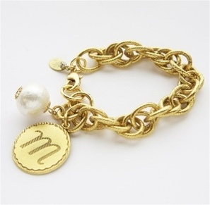 John Wind Collection Gold Initial and Pom Pom Bracelet