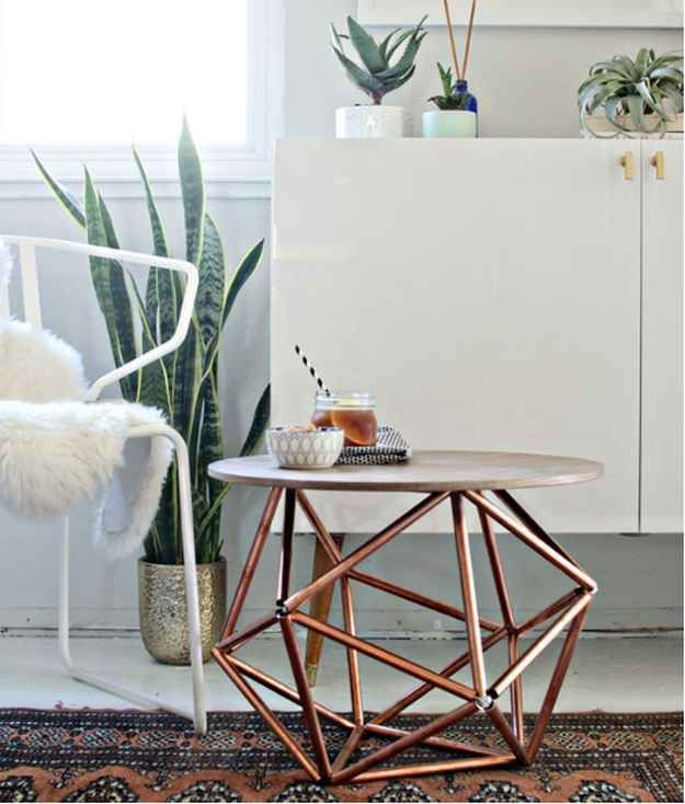 DIY Side Table With Himmeli Base Of Copper Pipe | 21 Geometric Furniture  Ideas To Spruce Part 96