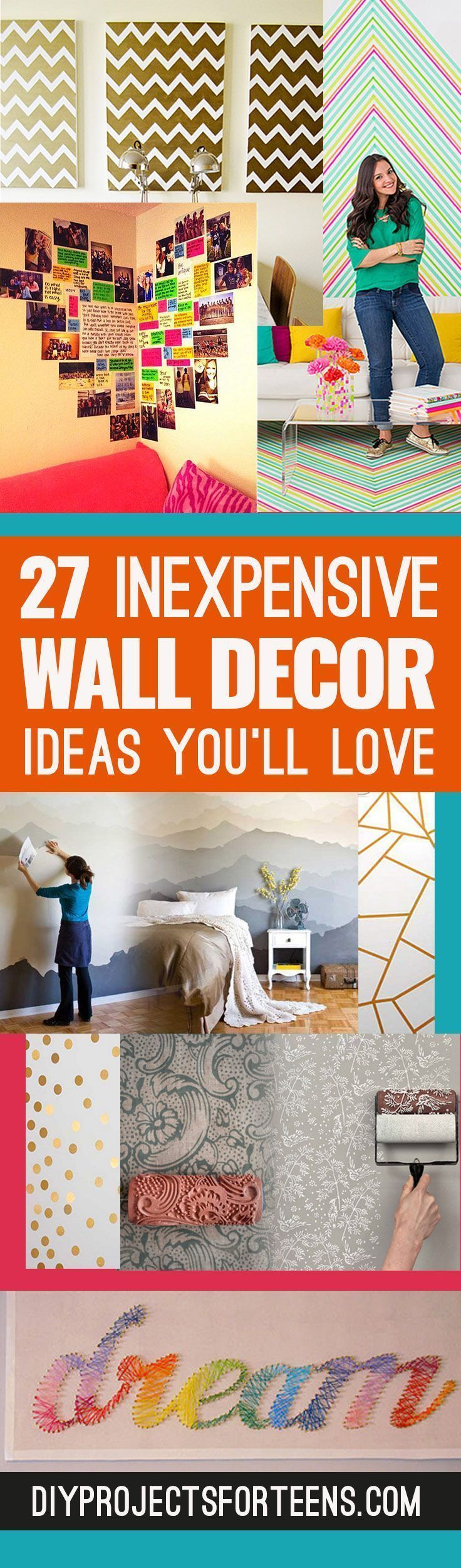 Cute DIY Wall Art Ideas You'll Love - Creative Room Decor on A Budget for Bedroom, Bath and Family. Teens, Dorms, Kids on a Budget. Popular Pins from Pinterest