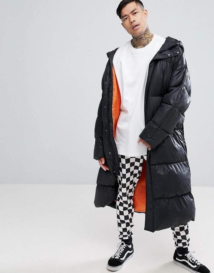 ASOS Super Longline Oversized Puffer Jacket with Hood In