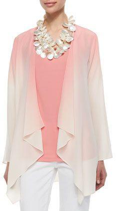 Eileen Fisher Ombre Draped Long Silk Jacket, Coral, Women's