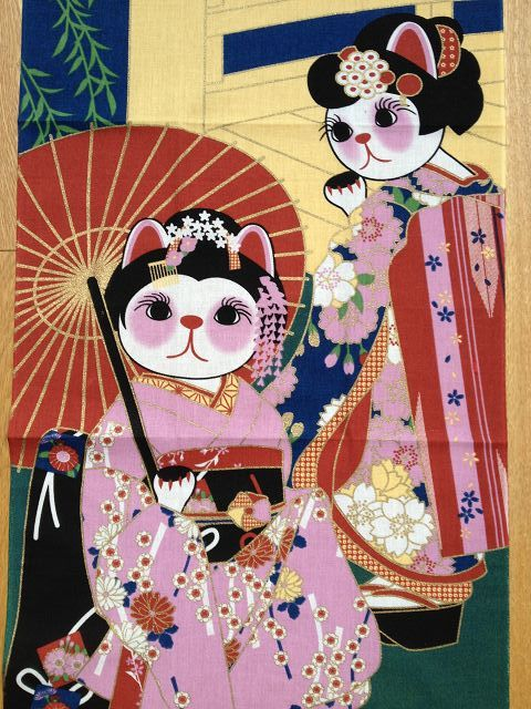 "Japanese ""Maneki Neko Geisha"" - Tenugui approx. 30 x 90 cm - Lovely decoration, table runner or other sewing Projects. Available at www.karlottapink.com - The online fabric shop for Special and exotic fabrics from around the world"
