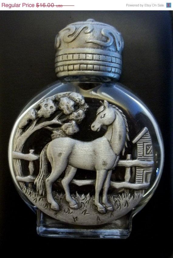vintage Horse Perfume Bottle JJ Jonette pewter @dollherupshop $12.00