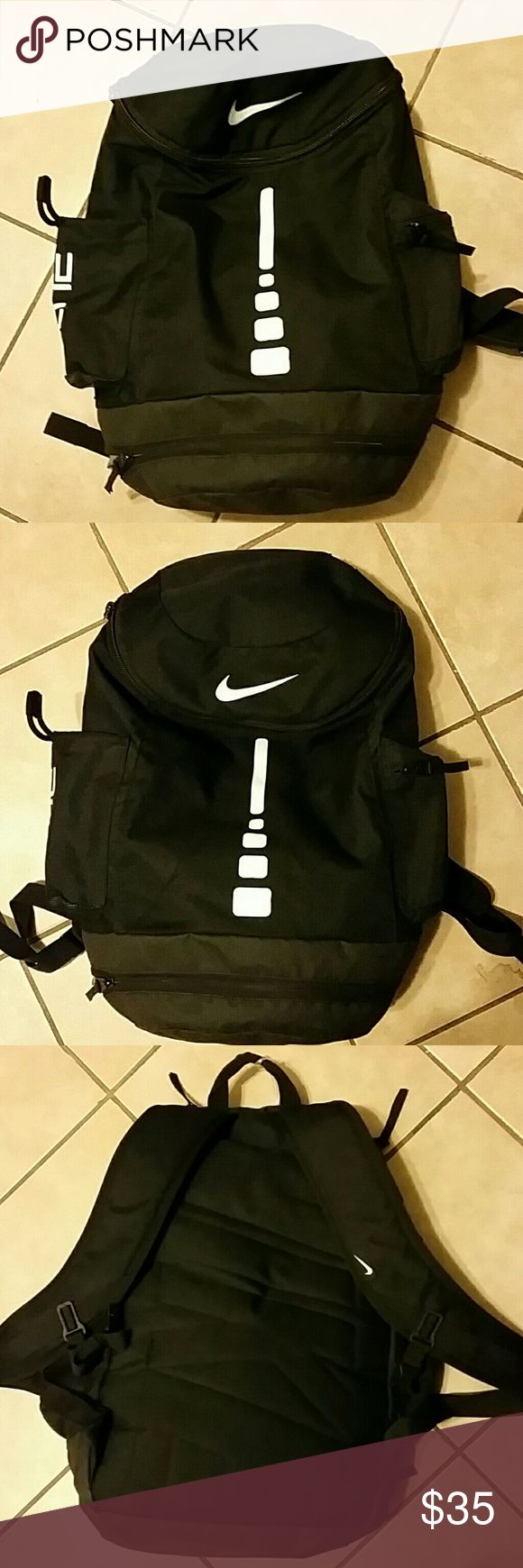 Nike Elite Backpack (black) Nike elite backpack is durable, water resistant, lightweight with plenty of space. Can hold shoes, gear, and a basketball. 1 main compartment, 1 zipper side pocket, a side beverage pocket, and a compartment for your wer gear or shoes on the bottom nike Bags Backpacks