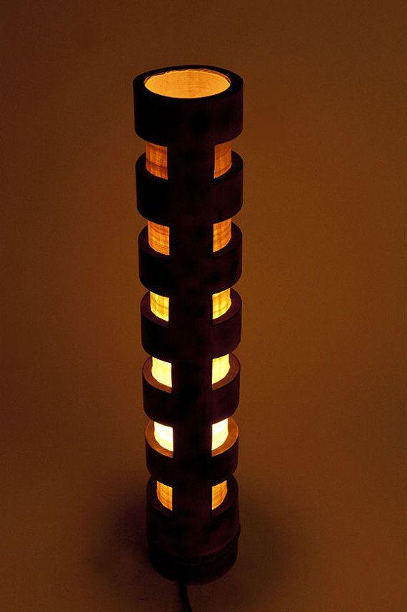 Lampada in legno, arredamento rustico, lampada dell