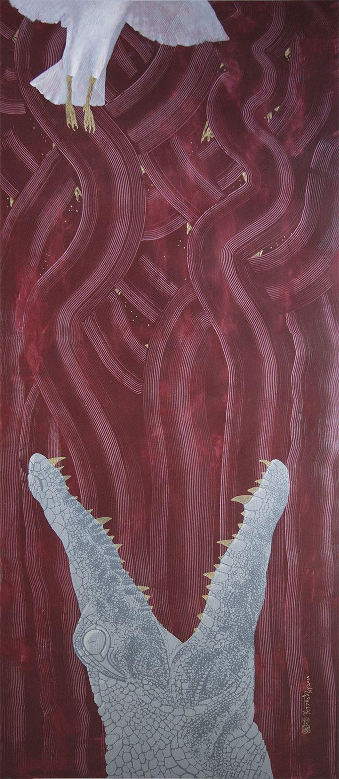 Сrocodile Series -Food Chain- 140x60 cm paper,acryl