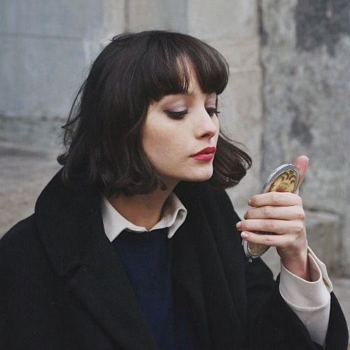bob, haircut, fringe, red lips, coat, layers, winter, hairstyle, pretty, beauty: