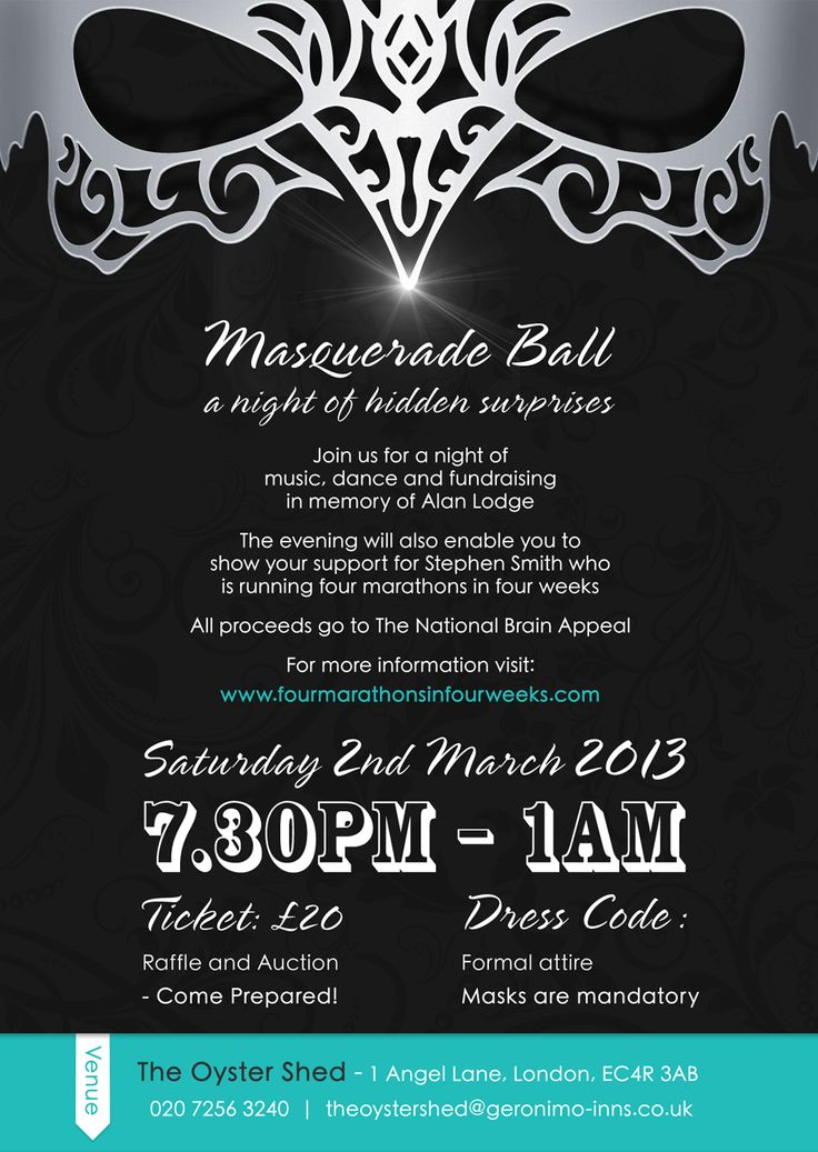 Masquerade Ball An Event Flyer Created To Promote A