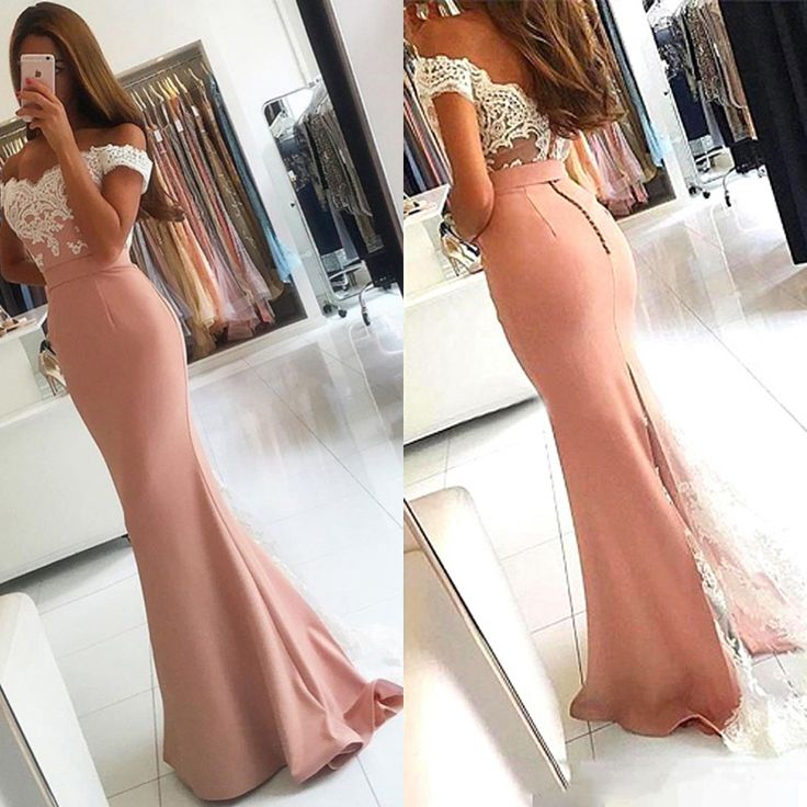 Pink Satin Lace Long Prom Dress 2017 on Luulla
