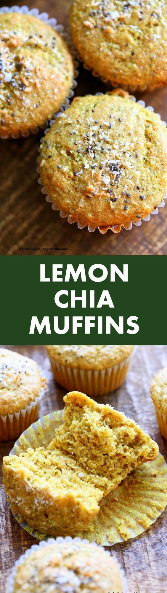 Lemon Coconut Chia Muffins. Zesty Muffins with Lemon, chia seeds, coconut and Turmeric. 1 bowl 30 minute muffins. Vegan Soy-free Nut-free Oil-free Recipe  i think I would use quinoa or coconut flour instead