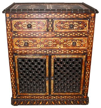 Moroccan  Carved Wooden Cabinet mediterranean-accent-chests-and-cabinets