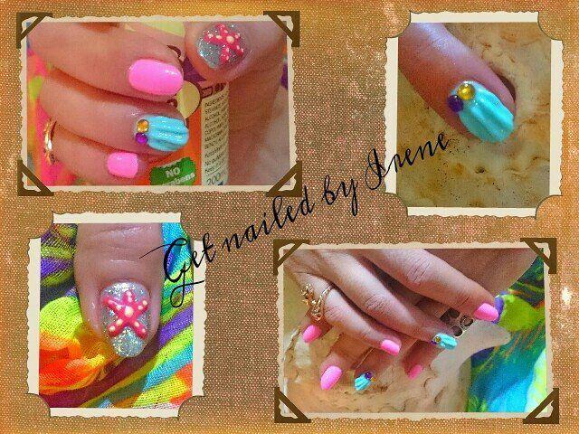 #summernails2016 #mywork #lovemyjob #nailartist #nailarts #seashell #starfish #glitter #pink #blue