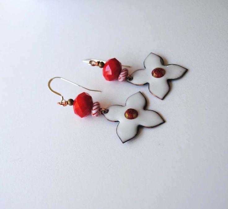 White Star Earrings, Artisan Enamel Earrings, Red Striped Earrings, Boho Earrings, Cross Earrings, Bright Red Earrings, Cross Earrings by bstrung on Etsy https://www.etsy.com/listing/510371389/white-star-earrings-artisan-enamel