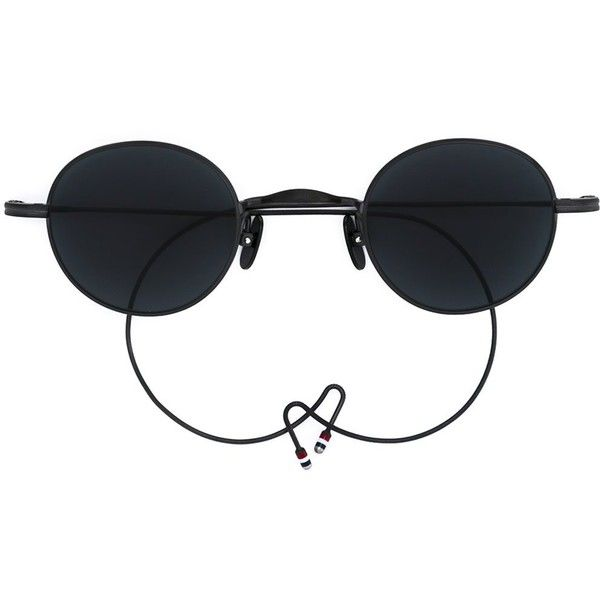 Thom Browne round frame sunglasses ($646) ❤ liked on Polyvore featuring accessories, eyewear, sunglasses, black, thom browne sunglasses, round sunglasses, thom browne, unisex glasses and titanium glasses