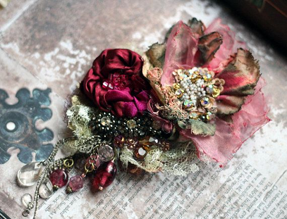 Garnet rose and vintage poppy- embroidered and beaded brooch, mixed media