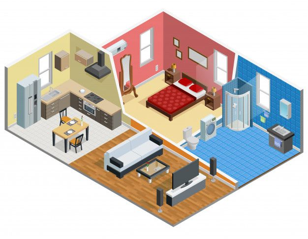 Download Apartment Isometric Design For Free In 2020 Living Room